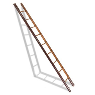 A late Victorian wooden library pole ladder by Taylor