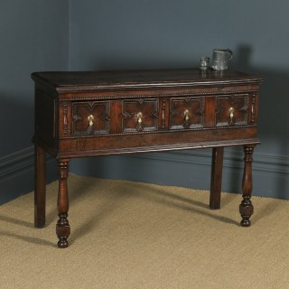 Antique English Victorian Jacobean Style Oak Geometric Dresser Base Sideboard (Circa 1880)