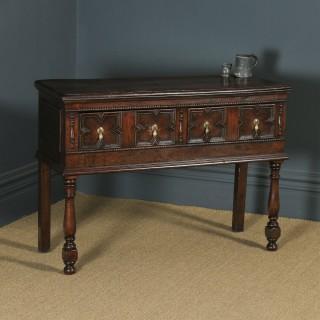 Antique English Victorian Jacobean Style Oak Geometric Dresser Base Sideboard (Circa 1880)