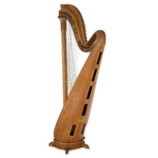 Large gilt bronze mounted maple harp by Pleyel, Wolff, Lyon and Cie