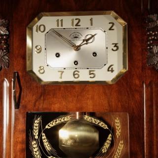 An Art Deco Westminster Carillon Romanet Walnut Wall Clock French circa 1940