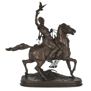 Bronze sculpture of an Arab horseman after Pierre-Jules Mêne