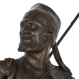 Bronze sculpture of an Arab horseman after Pierre-Jules Mêne
