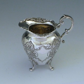 Victorian Antique Sterling Silver Cream Jug by Walker & Hall in 1900