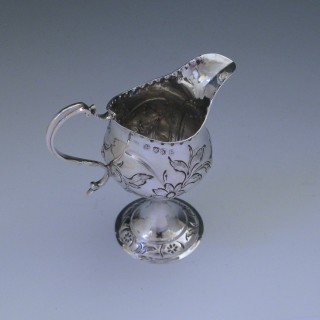 Antique George III Sterling Silver Cream Jug made by Samuel Godbehere in 1785