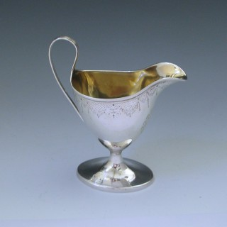Antique George III Sterling Silver Cream Jug Made by W & P Cunningham of Edinburgh c1798