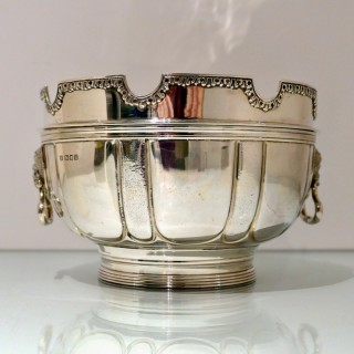 Early 20th Century Modern George V Sterling Silver Monteith Bowl London 1928 D & J Welby