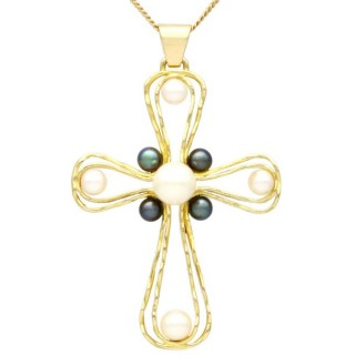 Pearl and 18 ct Yellow Gold Cross Pendant - Vintage Circa 1970