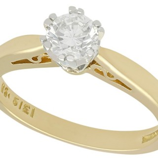 0.56 ct Diamond and 18 ct Yellow Gold Solitaire Ring - Vintage 1994