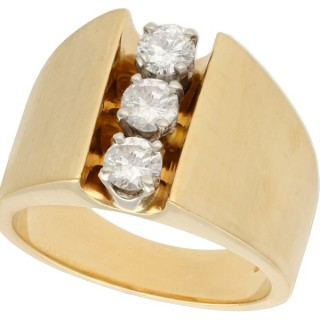 1.03ct Diamond and 14ct Yellow Gold Trilogy Ring - Contemporary Circa 2006