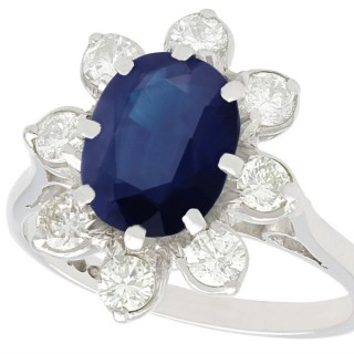 3.10 ct Sapphire and 0.80 ct Diamond, 18 ct White Gold Dress Ring - Vintage Circa 1950