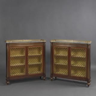 Pair of Regency Gilt-Bronze Mounted Mahogany Dwarf Bookcases