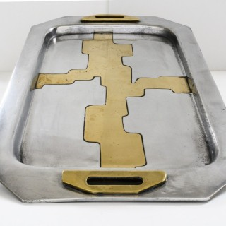 1970s Brutalist aluminium and brass tray by David Marshall