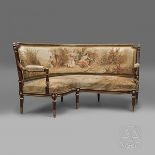 Louis XVI Style Gilt-Bronze Mounted Mahogany and Aubusson Tapestry Upholstered Corner Settee