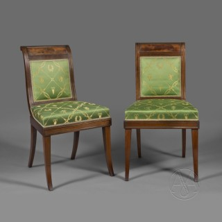 Set of Fourteen Empire Style Brass Inset Mahogany Dining Chairs
