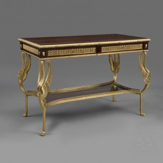 Empire Revival Gilt-Bronze Mounted Flame Mahogany Centre Table With Swan Leg Supports