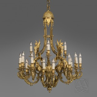 Louis XVI Style Gilt-Bronze Twenty-Four-Light Chandelier