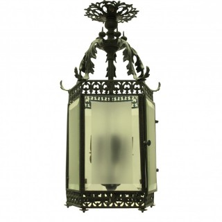 A FINE ENGLISH BRONZE HANGING LANTERN
