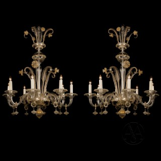 Pair of Venetian Clear-Glass and Gilt Decorated Eight-Light Chandeliers