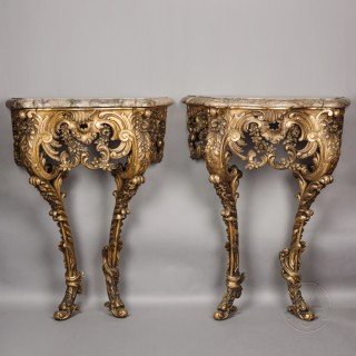 Pair of Petit Rococo Revival Giltwood Console Tables