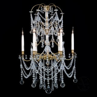 Cut-Glass and Gilt-Bronze Six-Light Chandelier