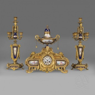 Napoleon III Gilt-Bronze and Porcelain Mounted Clock Garniture