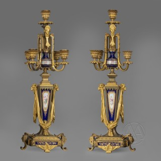 Napoleon III Gilt-Bronze and Porcelain Mounted Clock Garniture