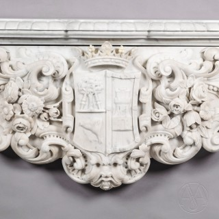 Important Louis XV Style White Carrara Marble Figural Fireplace