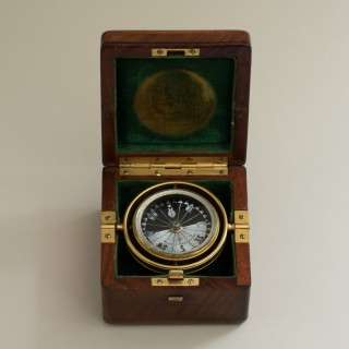 Mahogany Cased Gimballed Compass