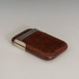 Crocodile Cigar Case with Shaped Sterling Silver Collar