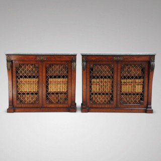 A Pair of Regency Mahogany Side Cabinets