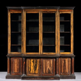 A Rare William IV Anglo Indian Breakfront Bookcase