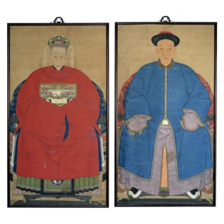 Two Ancestor Portraits, China, Qing Dynasty, late 19th century