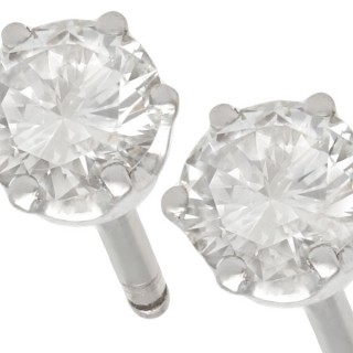 0.72ct Diamond and 18 ct White Gold Stud Earrings - Contemporary Circa 2000