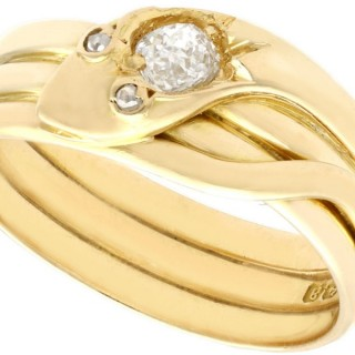 0.38ct Diamond and 18ct Yellow Gold Snake Ring - Antique Victorian 1900