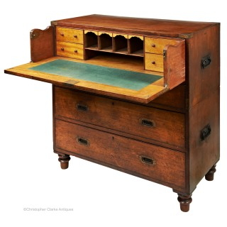 Mahogany Secretaire Campaign Chest by SW Silver