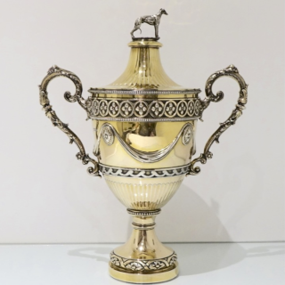Antique Sterling Silver George V Large Gilt Cup & Cover London 1912 Robert Dicker