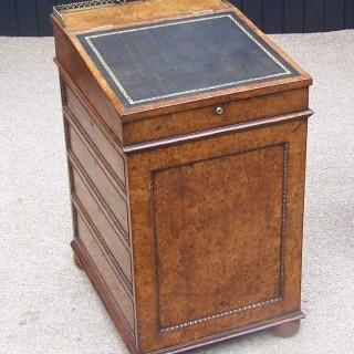 English Regency Burr Elm 19th Century Davenport Writing Desk