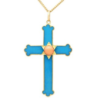 0.38 ct Coral and Enamel, 14ct Yellow Gold Cross Pendant - Antique Circa 1880