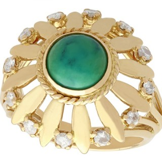 Turquoise and 0.25 ct Diamond, 18 ct Yellow gold Dress Ring - Vintage Circa 1950