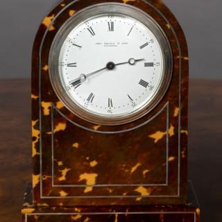 Edwardian Tortoiseshell Mantel Clock