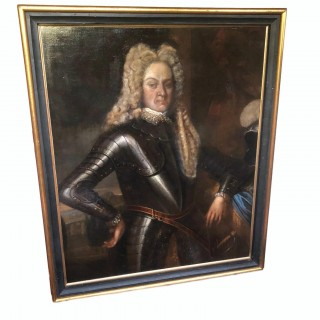 Three-quarter length oil on canvas painting of gentlemen in armour c1690 re framed