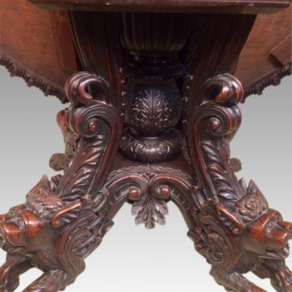 19th century antique Anglo Indian carved rosewood centre table.