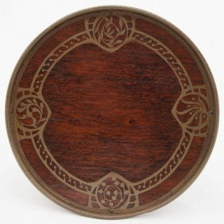 Early 20th Century Rosewood Tazza with Brass Inlay by Erhard & Sohne of Austria