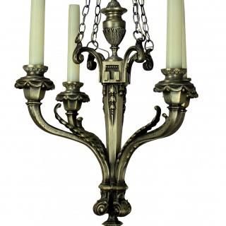 A XIX CENTURY FRENCH FOUR BRANCH SILVER CHANDELIER