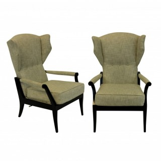 A PAIR OF STYLISH ITALIAN RECLINING ARMCHAIRS