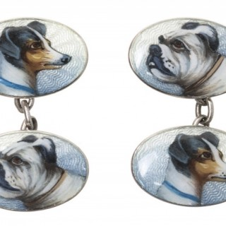 Antique Cufflinks in Sterling Silver with Coloured Enamel Portraits of a pair of Dogs, German circa 1910
