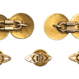 Antique Cufflinks & Studs in 18 Karat Gold with Criss Cross Design and inset Enamel, French circa 1890