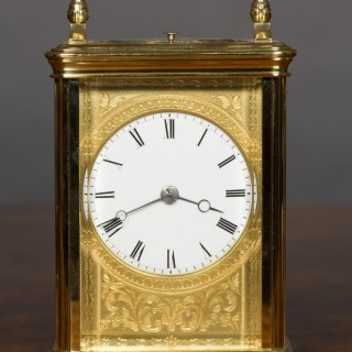 French Brass Cased Repeating Carriage Clock by Drocourt