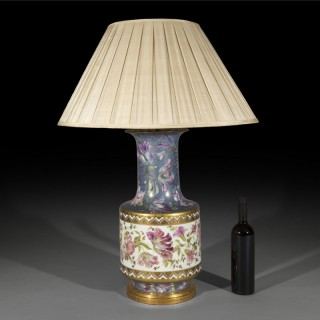 Massive Antique Porcelain Vase Table Lamp